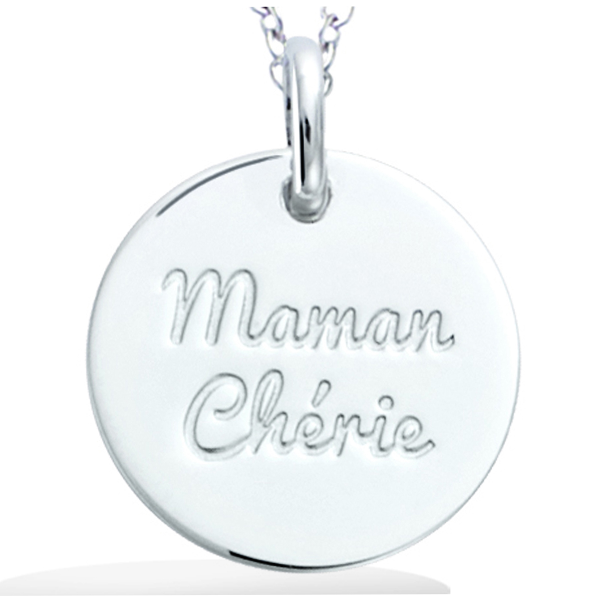 Pendentif Argent \'Maman Chérie\' argenté (rhodié) - 15 mm - [R2561]