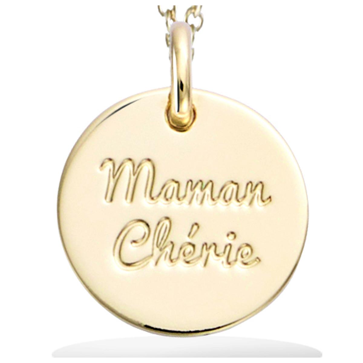 Pendentif Plaqué Or \'Maman Chérie\' doré - 15 mm - [R2562]