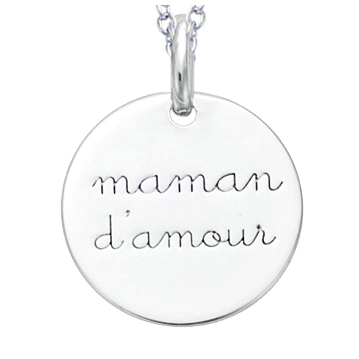 Pendentif Argent \'Maman d\'Amour\' argenté (rhodié) - 15 mm - [R2563]