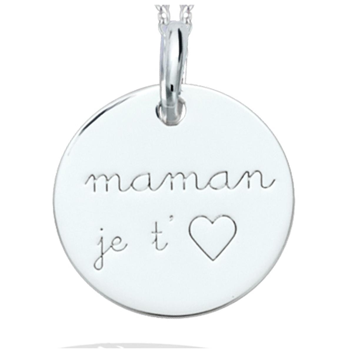 Pendentif Argent \'Maman Je t\'aime\' argenté (rhodié) - 15 mm - [R2564]