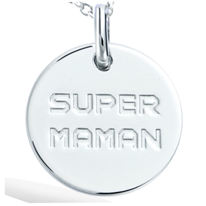 Pendentif Argent \'Super Maman\' argenté (rhodié) - 15 mm - [R2565]