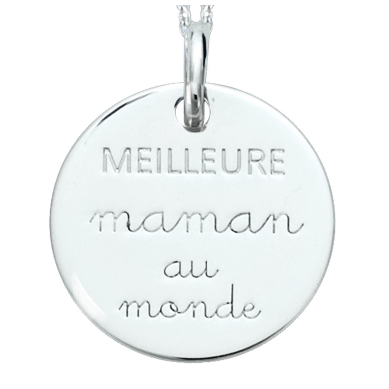 Pendentif Argent \'Meilleure Maman au monde\' argenté (rhodié) - 18 mm - [R2567]