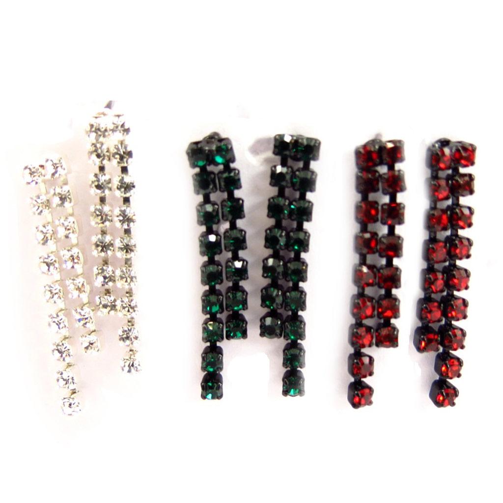 3 paires de boucles Créateur \'Sissi\' blanc vert rouge - [K7267]