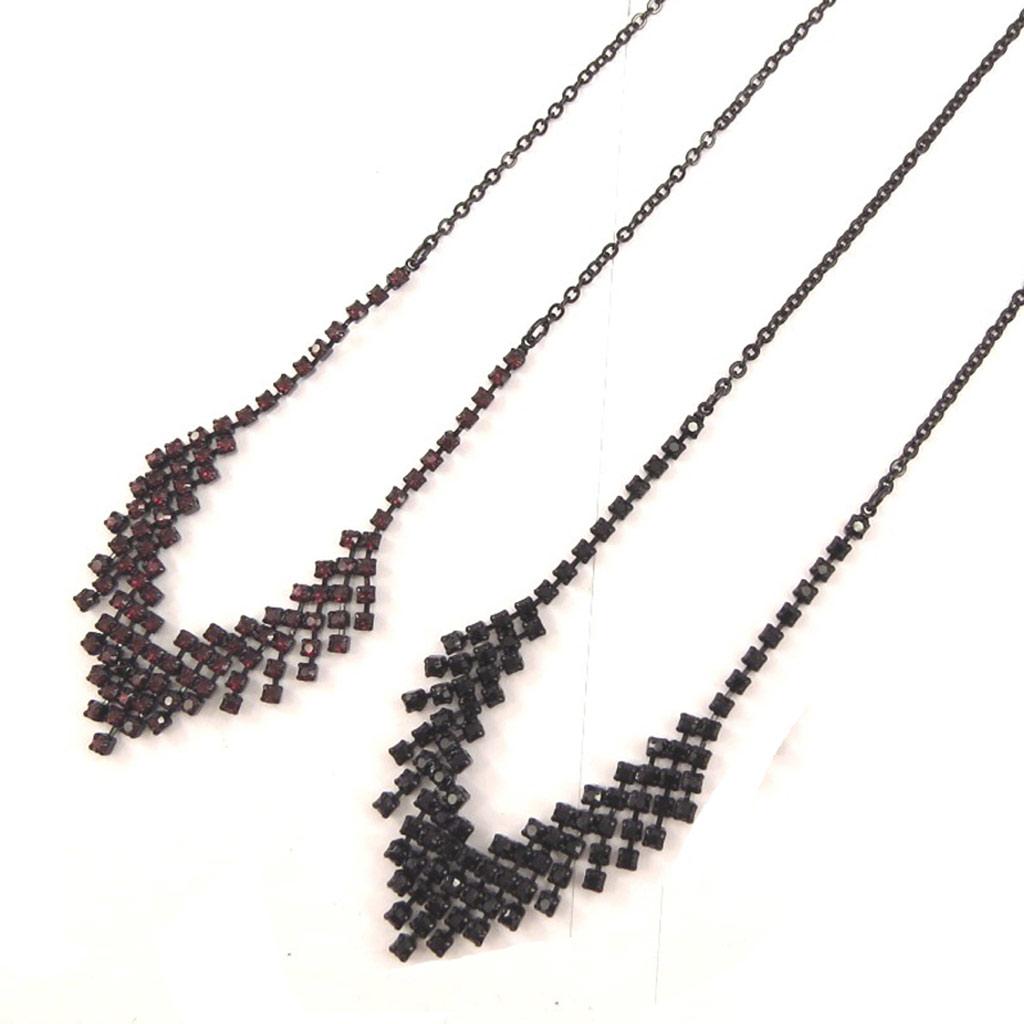 2 colliers créateur \'Sissi\' rouge noir - [K7268]