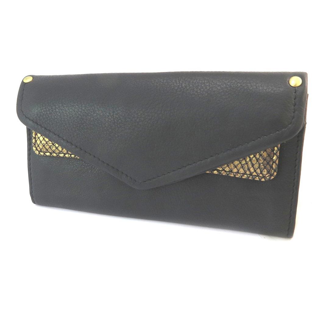 Compagnon cuir \'Anaik\' noir doré (double compartiments) - 20x10x15 cm - [P3086]