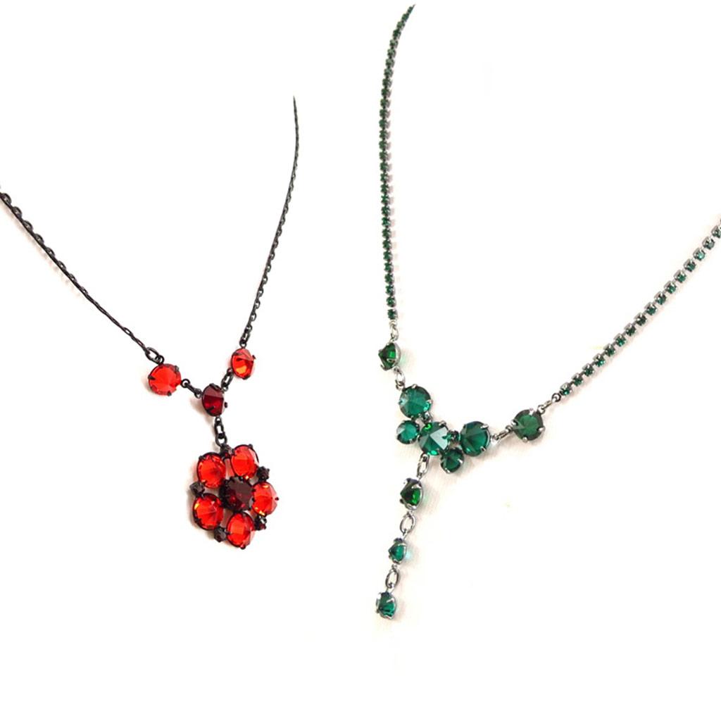 2 colliers créateur \'Sissi\' rouge vert - [K7271]