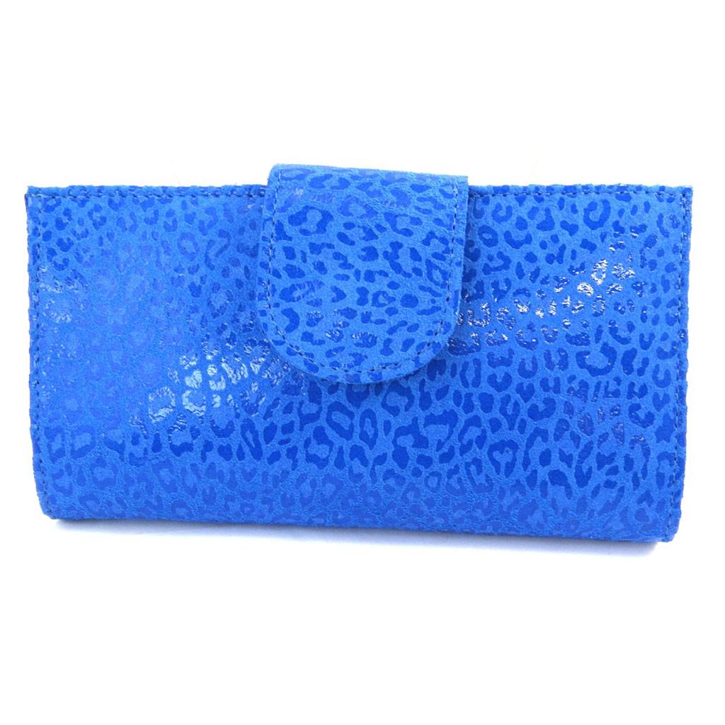 Porte-Chéquier Cuir \'Frandi\' bleu capri (léopard) - [M7961]