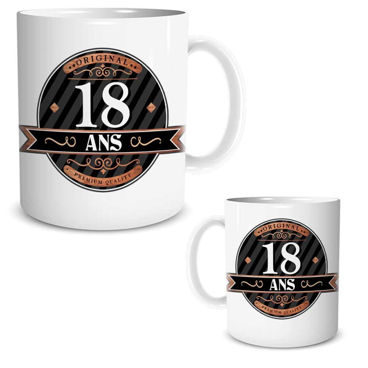 Mug céramique \'18 ans\' noir marron blanc - 95x80 mm - [R2595]