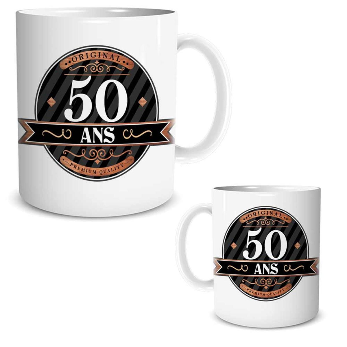Mug céramique \'50 ans\' noir marron blanc - 95x80 mm - [R2599]