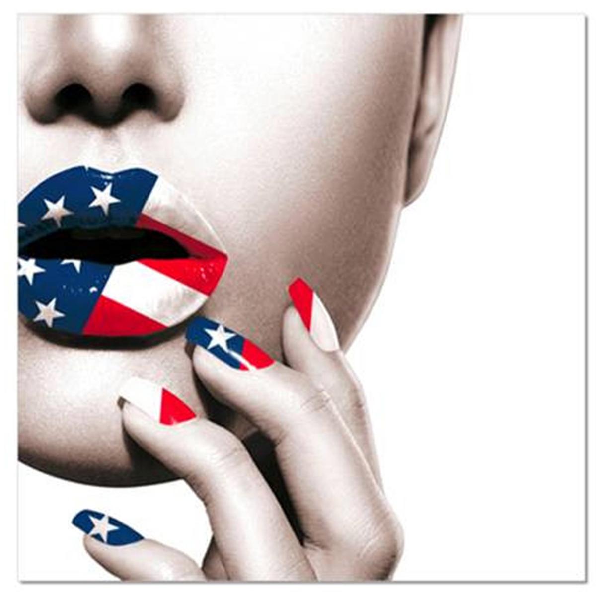 Toile \'America\' make up (rouge à lèvres, vernis) - 40x40 cm - [R2613]