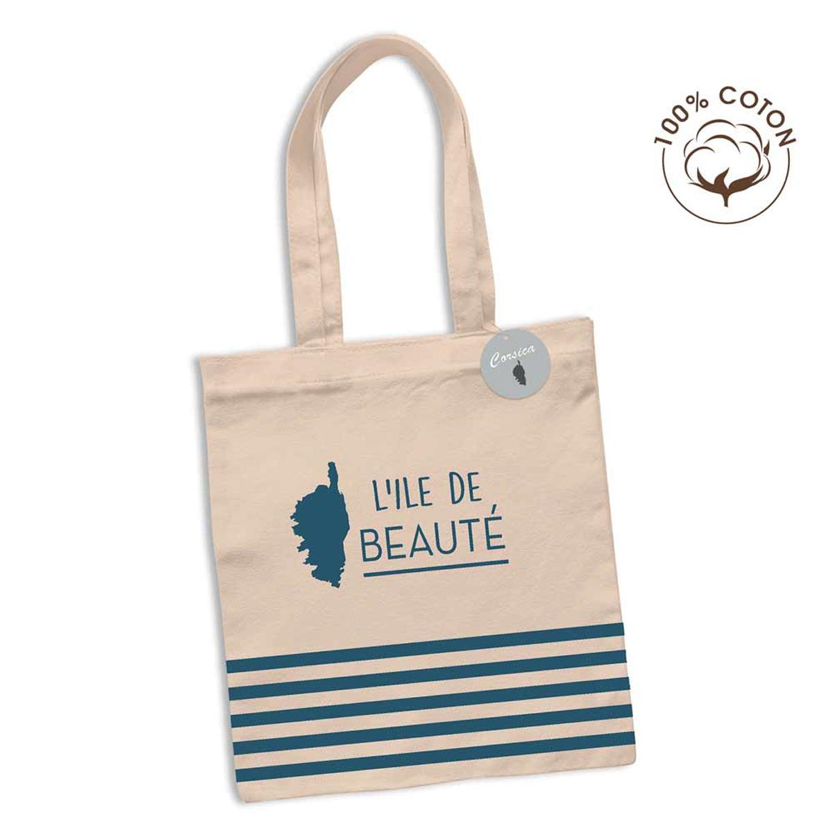 Sac coton / tote bag \'Corsica\' bleu beige (L\'Ile de Beauté, marinière) - 63x365 cm - [R2627]