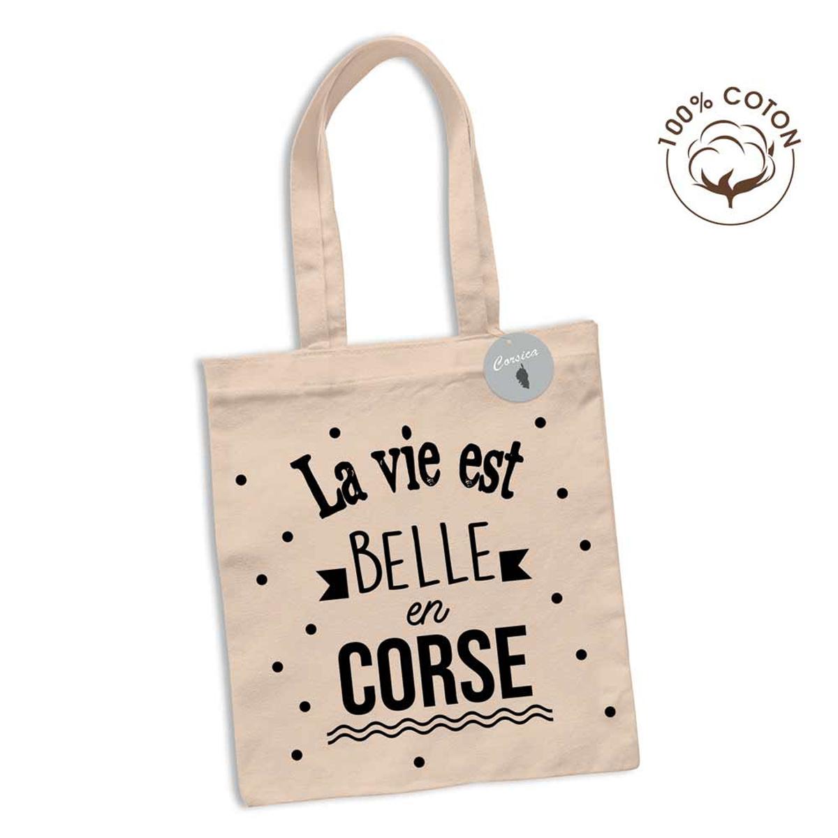 Sac coton / tote bag \'Corsica\' noir beige (La vie est belle en Corse) - 63x365 cm - [R2628]