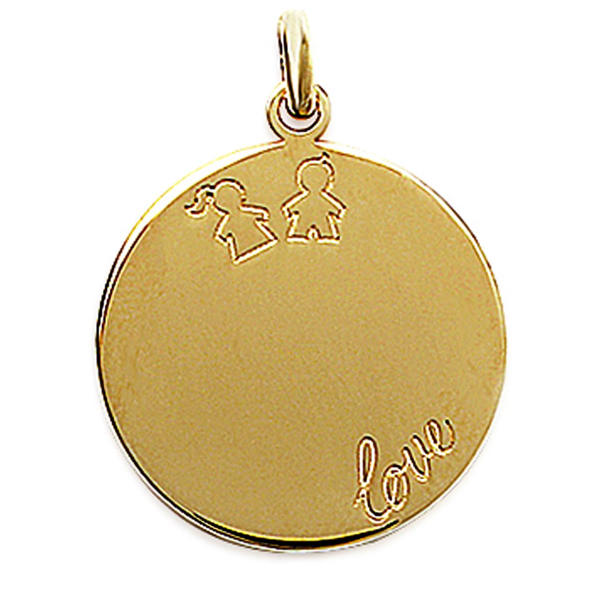 Pendentif Plaqué Or \'Love \' doré - 20 mm (à Graver) - [E7030]