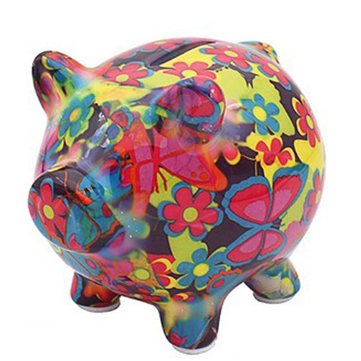 Tirelire céramique \'Cochon\' multicolore - 11x9x9 cm - [R2703]