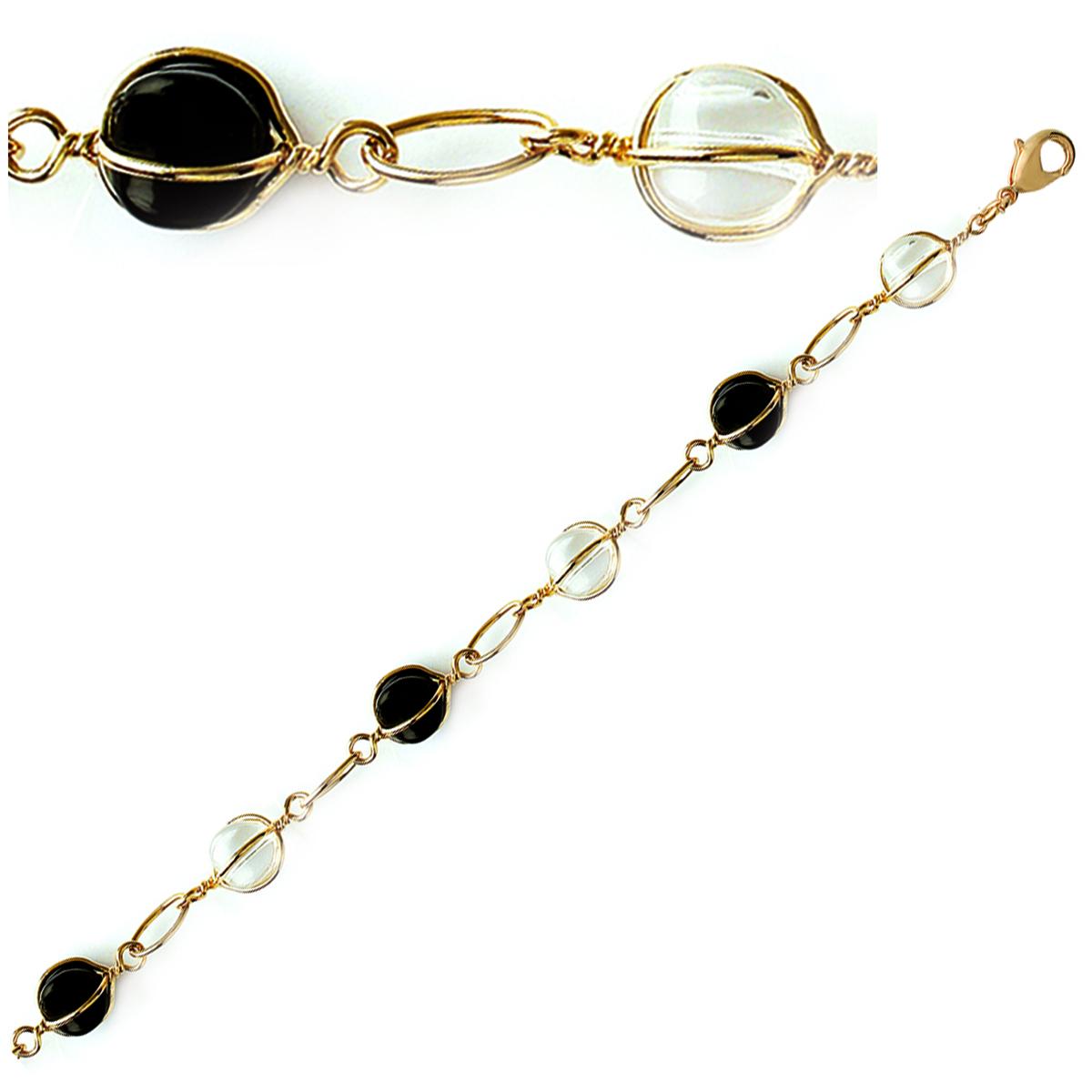 Bracelet Plaqué Or \'Alegria\' Noir Blanc doré - 10 mm - [E7049]
