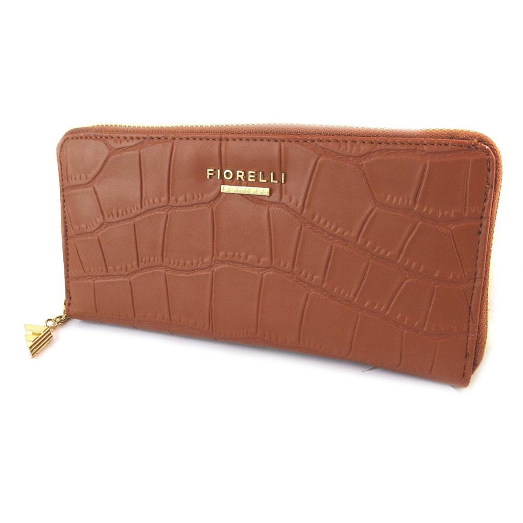 Compagnon zippé \'Fiorelli\' marron tan croco - 20x10x2 cm - [N9145]