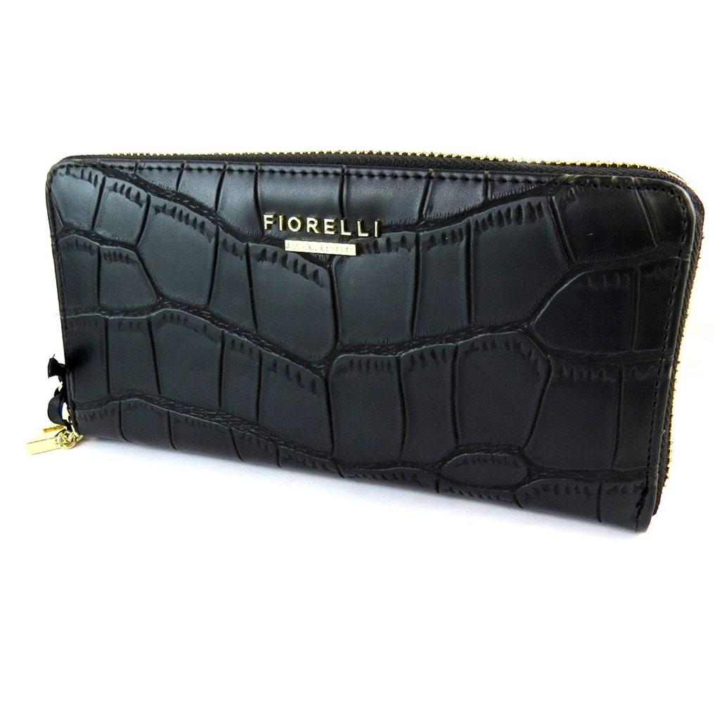 Compagnon zippé \'Fiorelli\' noir croco - 20x10x2 cm - [N9146]