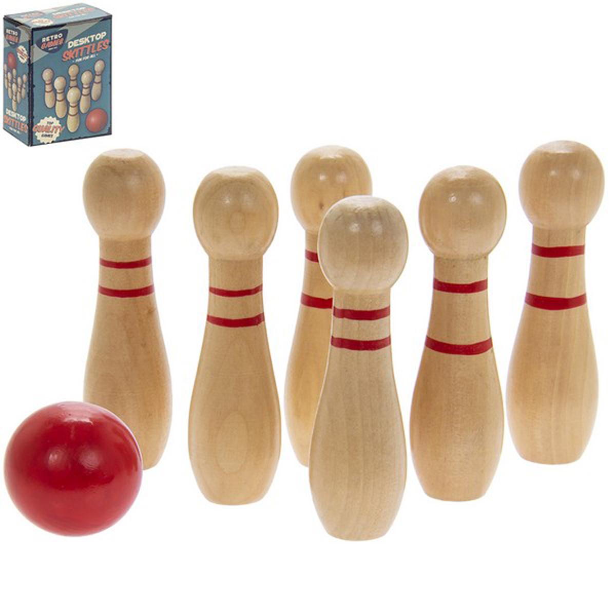 Jeux bois rétro \'Bowling\' beige rouge - boite 15x11x6 cm - [R2716]