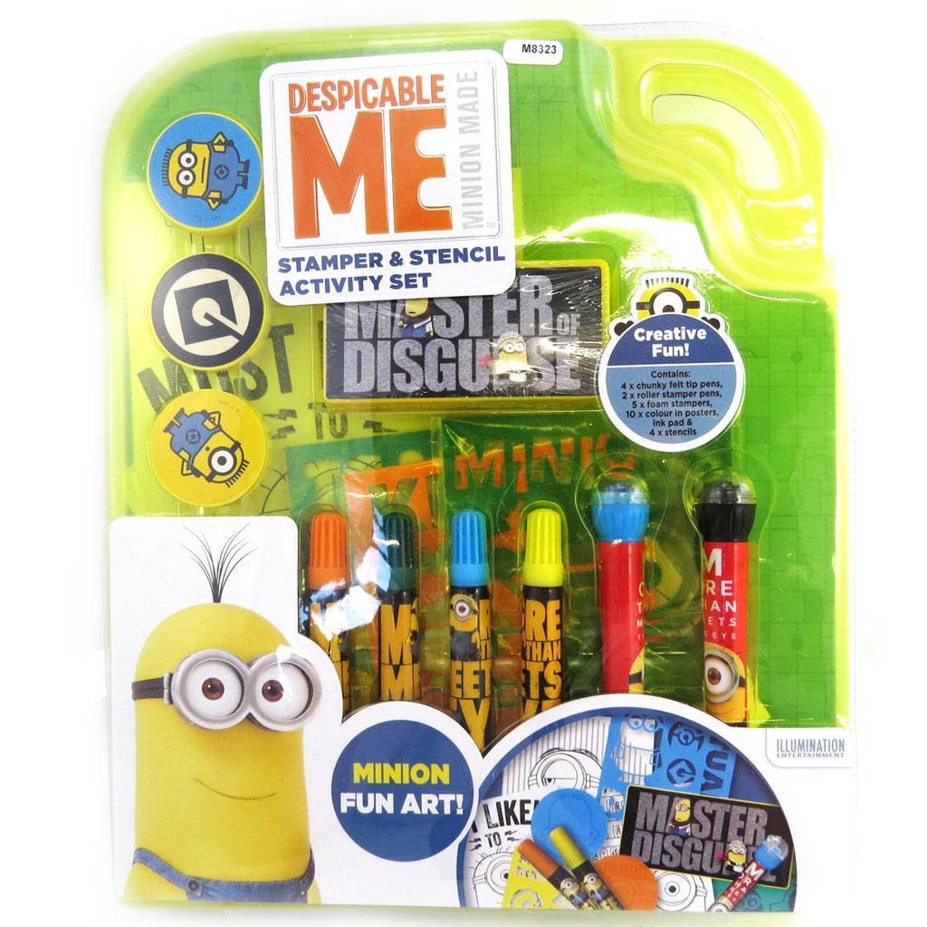 Set papeterie tampons + feutres  \'Minions\' bleu jaune (25 pièces) - [M8323]