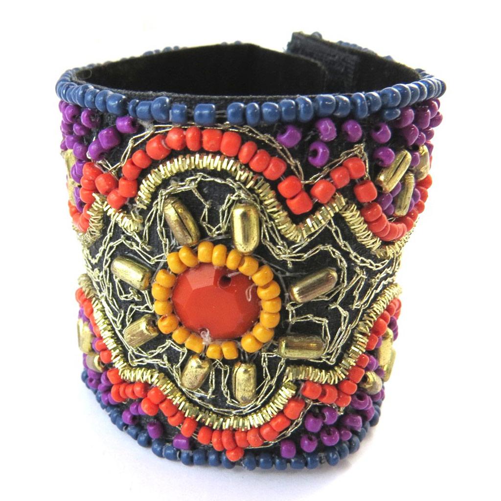 Bracelet créateur \'Altaï\' rouge violet - [N9209]