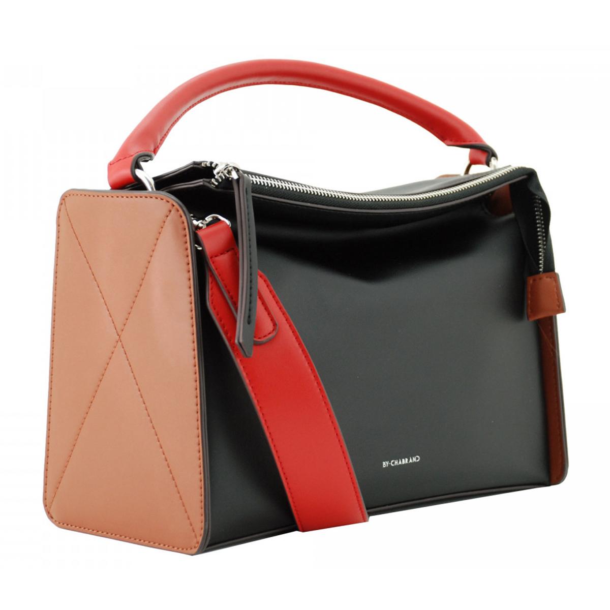 Sac créateur \'Chabrand\' noir rouge marron - 28x18x12 cm - [R2756]