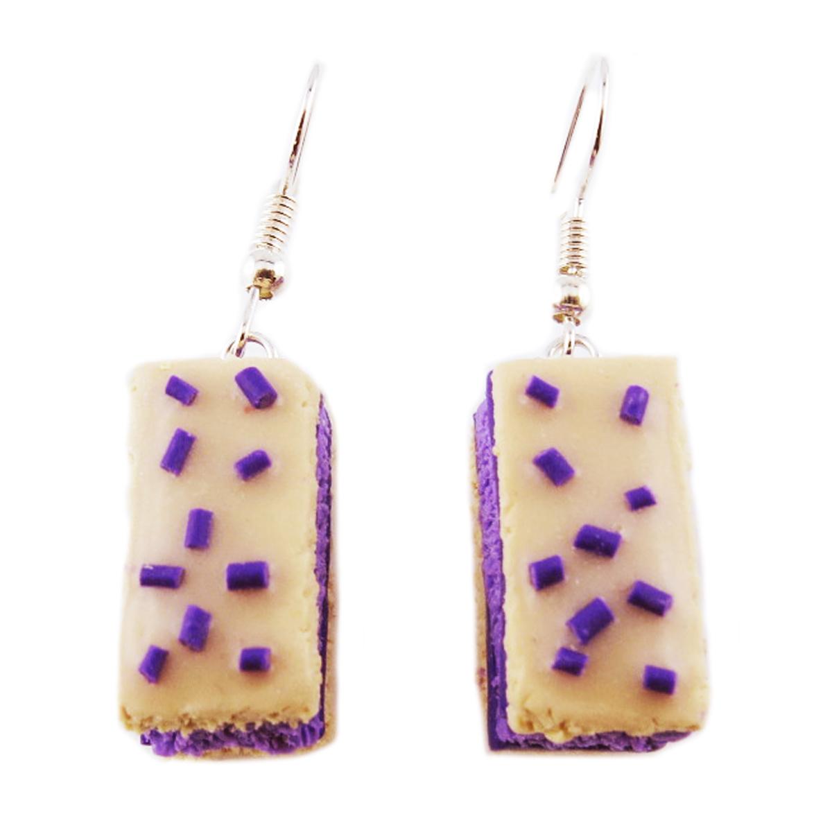Boucles d\'oreilles artisanales \'Napolitains\' beige violet - 20x10x10 mm - [R2760]