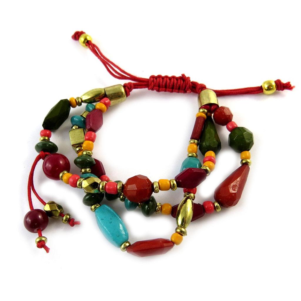 Bracelet ethnique \'Altaï\' rouge multicolore (3 rangs) - [N9221]