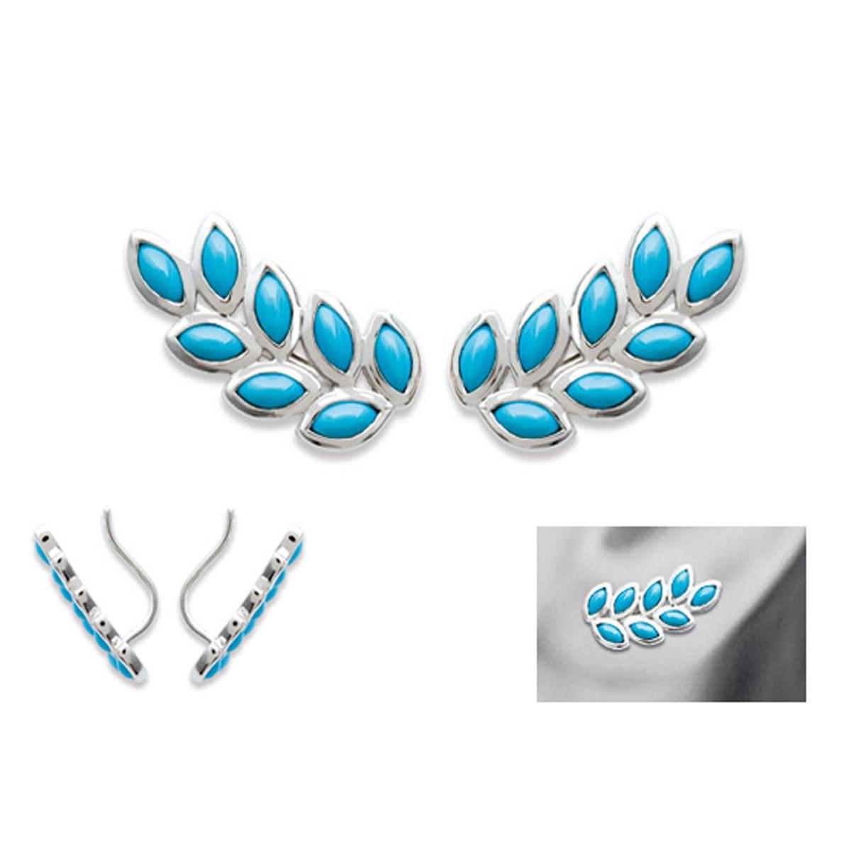 Boucles contours d\'oreilles argent \'Navajos\' turquoise argenté (rhodié) - 18x9 mm - [N9242]
