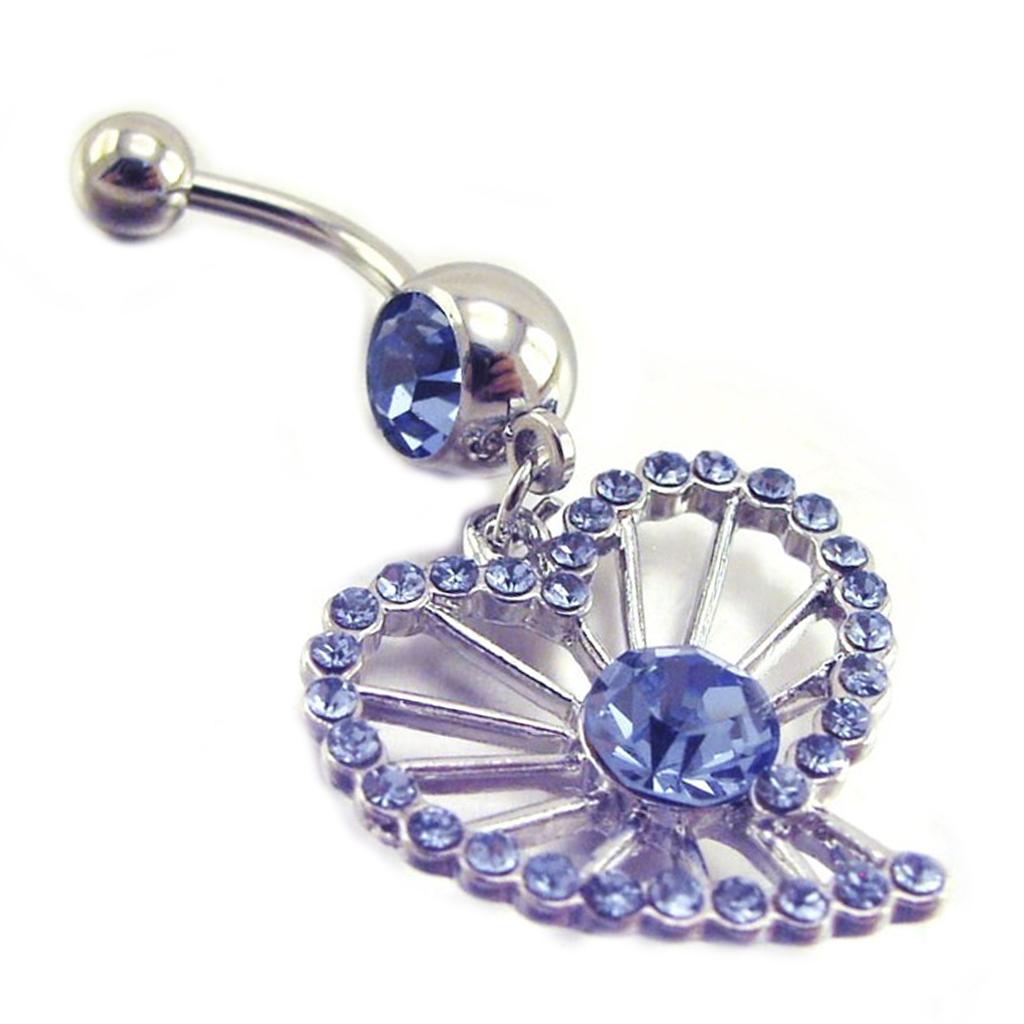 Body Piercing \'Coeur\' Bleu - [E7763]