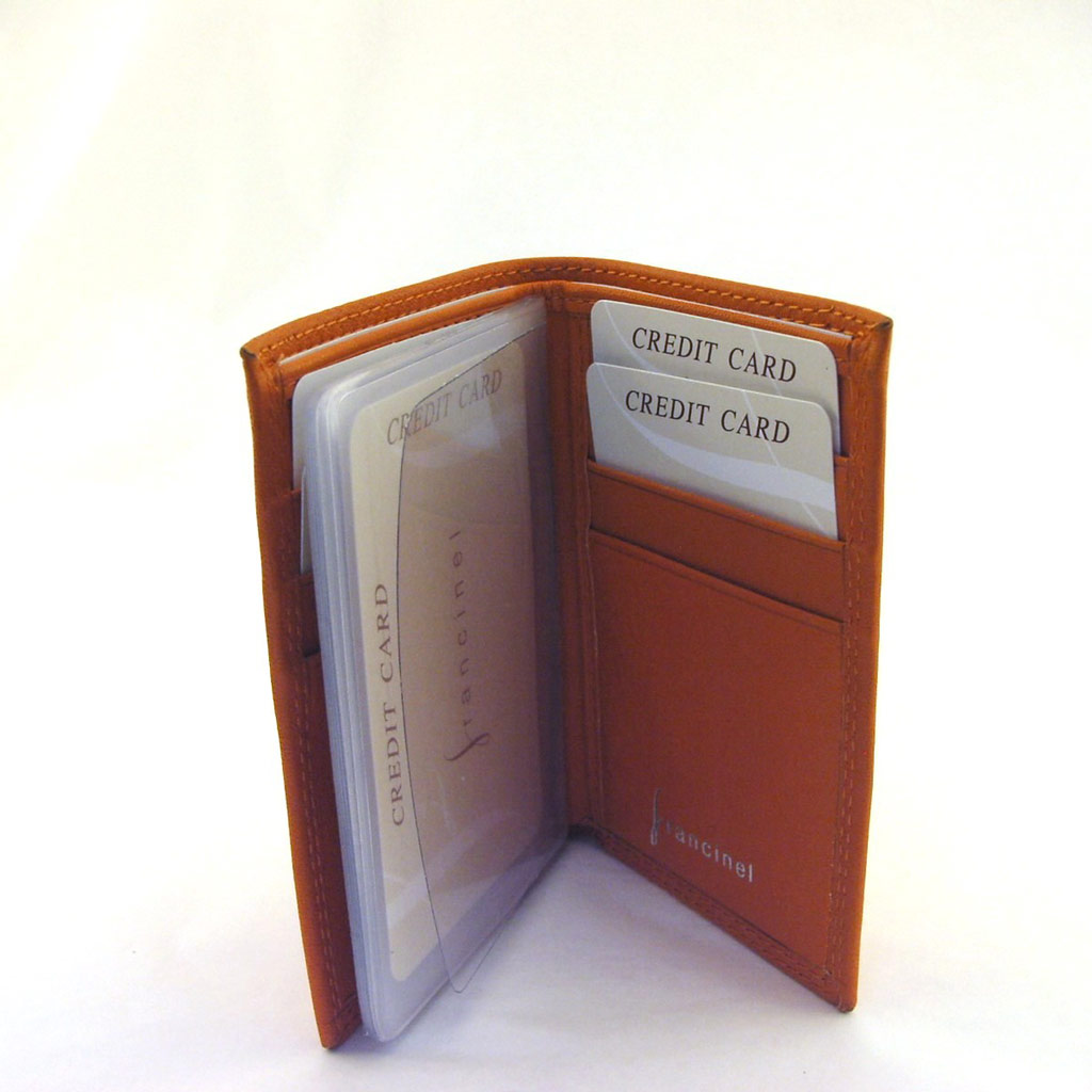 Porte-cartes cuir \'Del Arte\' Orange - 105x75 cm - [E8045]