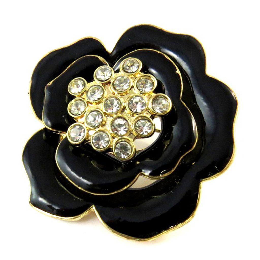 Broche Créateur \'Rosa Romantica\' noir doré - [N9304]