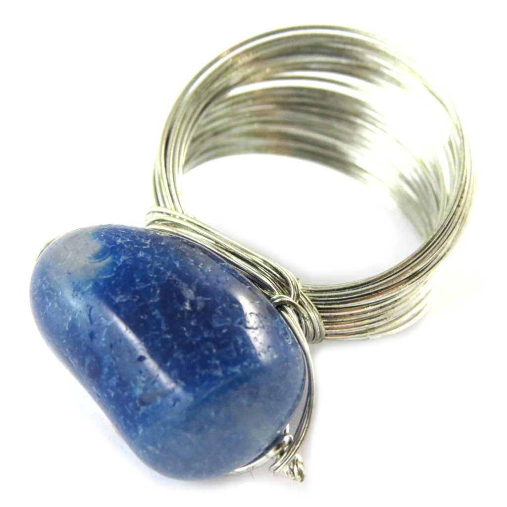 Bague \'Mineralia\' bleu argenté - [N9306]