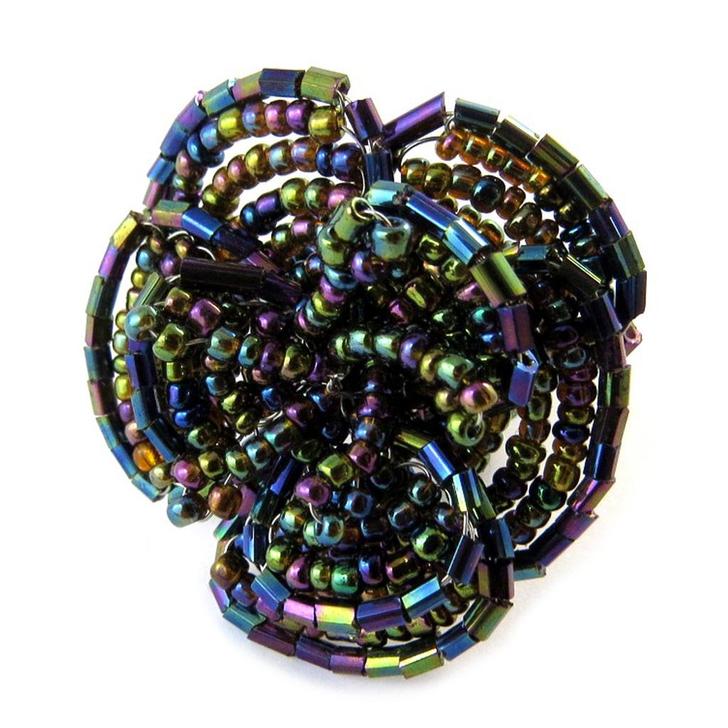 Bague créateur \'Katmandou\' noir multicolore - [N9311]