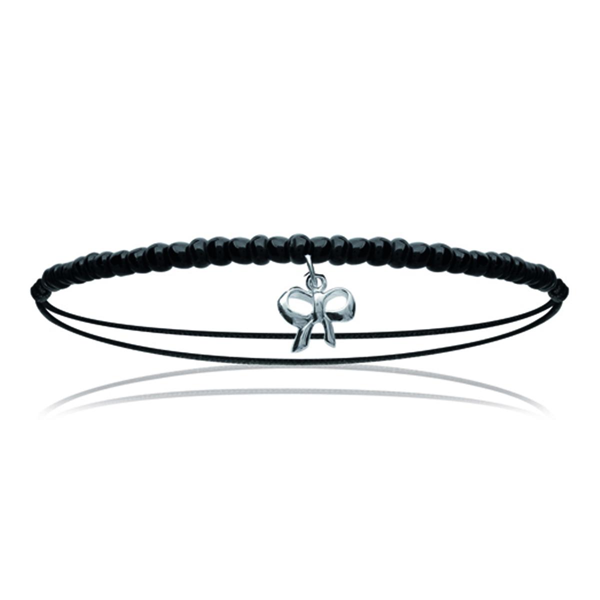 Bracelet Argent \'Noeud Romantique\' noir argenté - 10x10 mm - [M8715]