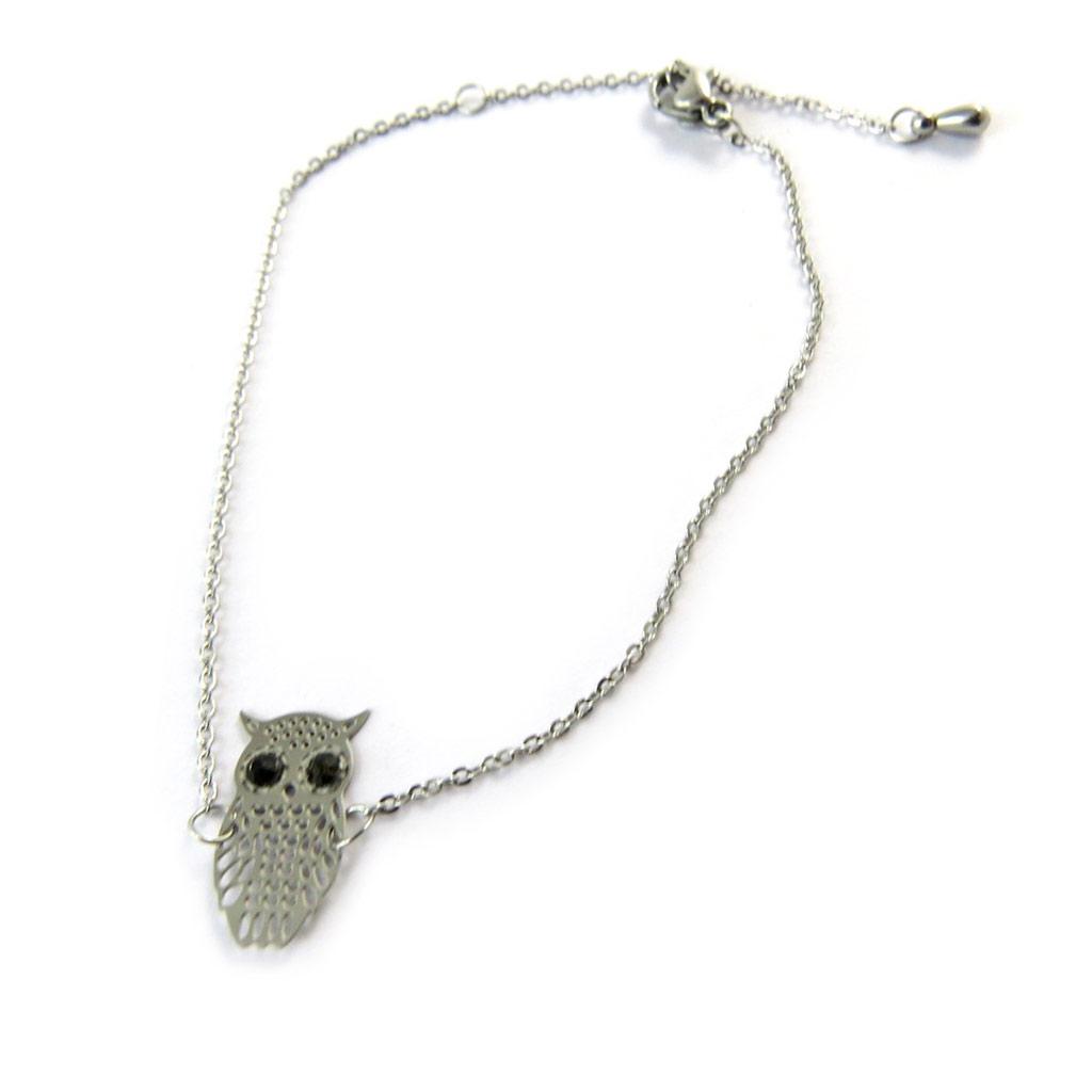 Bracelet \'Carmen\' noir argenté (chouette) - [N9336]