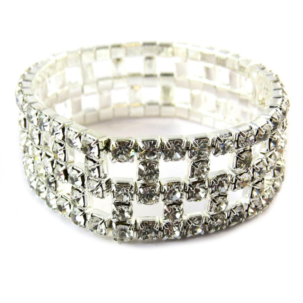 Bracelet \'Pavé de Strass\' Blanc 2 cm - [E8746]