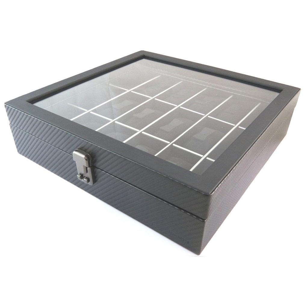 Coffret à montres \'Graphite Design\' noir (18 montres) - 315x31x85 cm - [N9386]