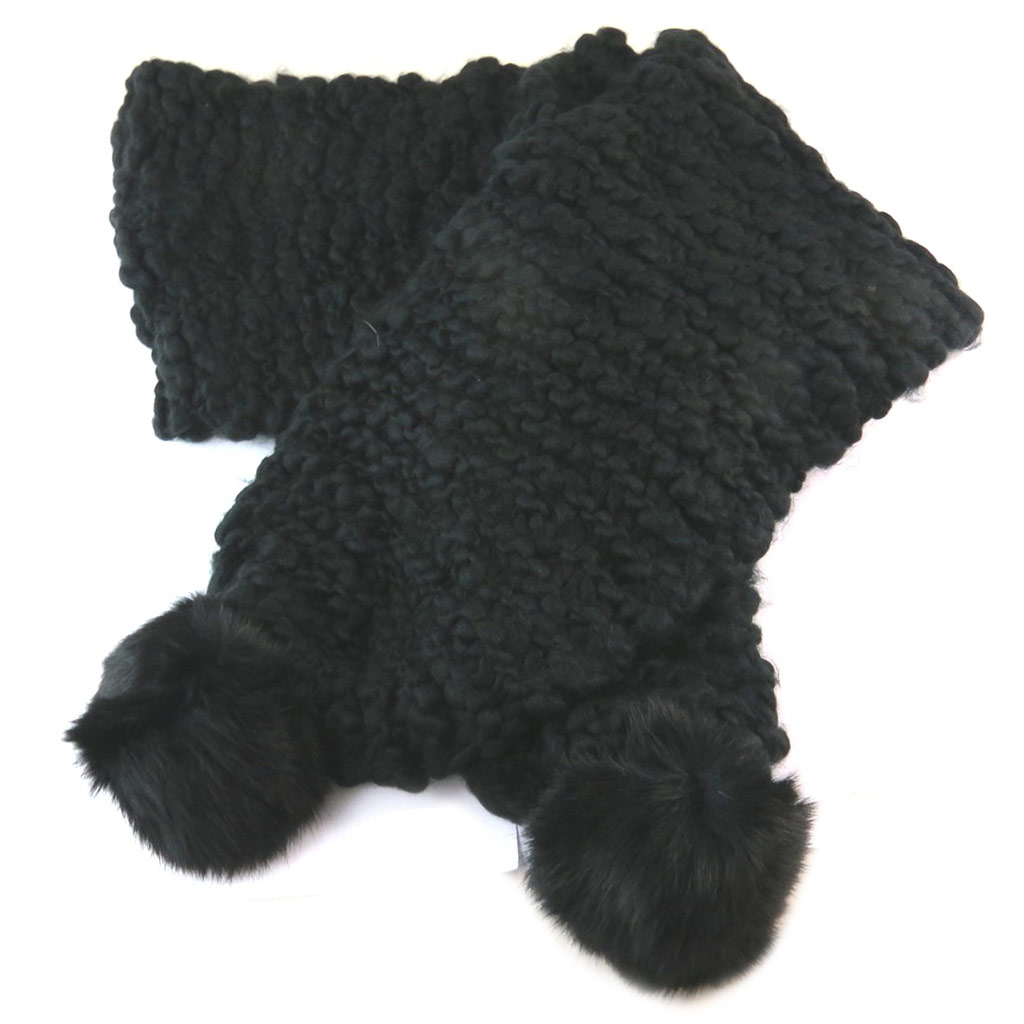 Echarpe maille \'Lollipops\' noir - 160x95 cm - [N9434]