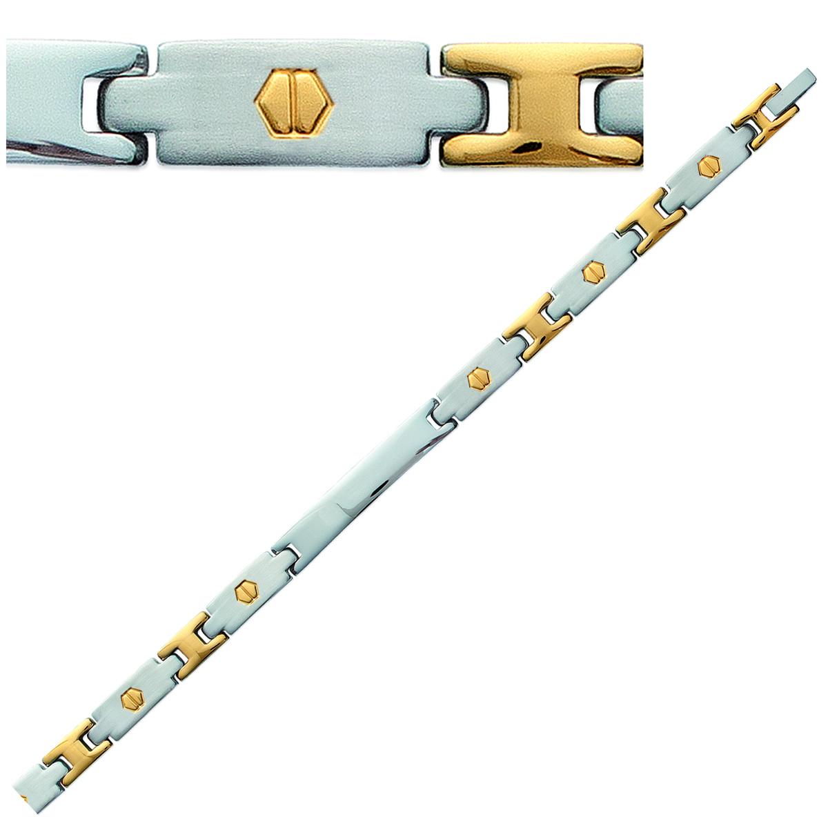 Bracelet acier plaqué or \'Peaceful\' argenté doré - 21 cm 7 mm - [E9042]