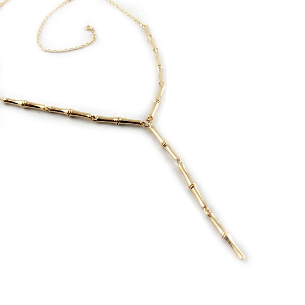 Collier Plaqué-Or \'Bambou\' Doré  - [E9051]