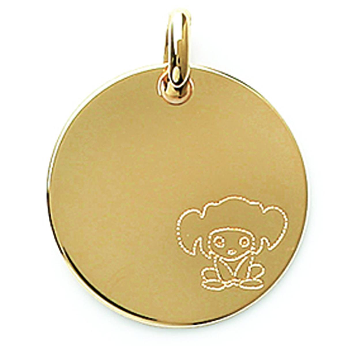Médaille plaqué or \'Message Manga\' doré (A Graver) - 18 mm - [E9076]