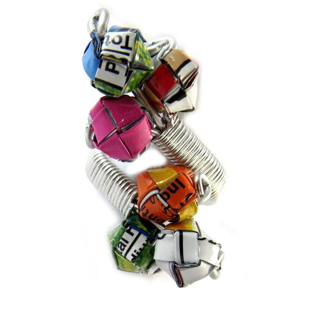 Bague artisanale \'New Life\' multicolore (fait main) - [N9534]