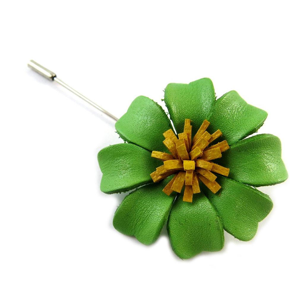 Broche artisanale \'New Life\' vert (fait main) - [N9547]