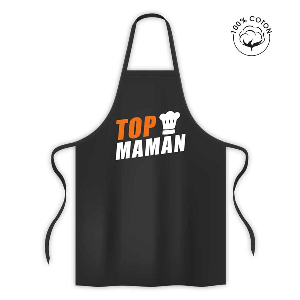 Tablier coton \'Top Chef Maman\' noir - 80x70 cm - [R1582]