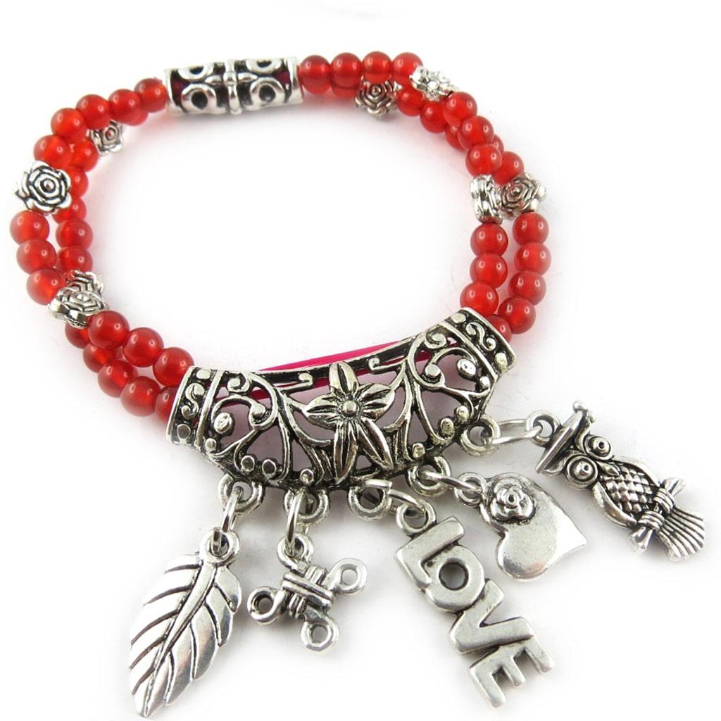 Bracelet \'Minéralia\' agate rouge - [K7281]