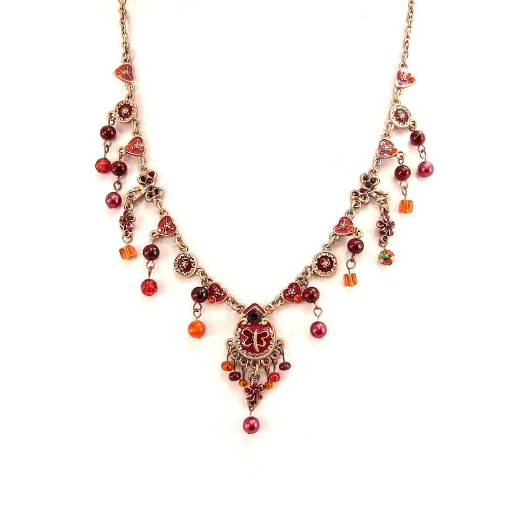 Collier \'Mulan\' Rouge Rose  - [D6060]