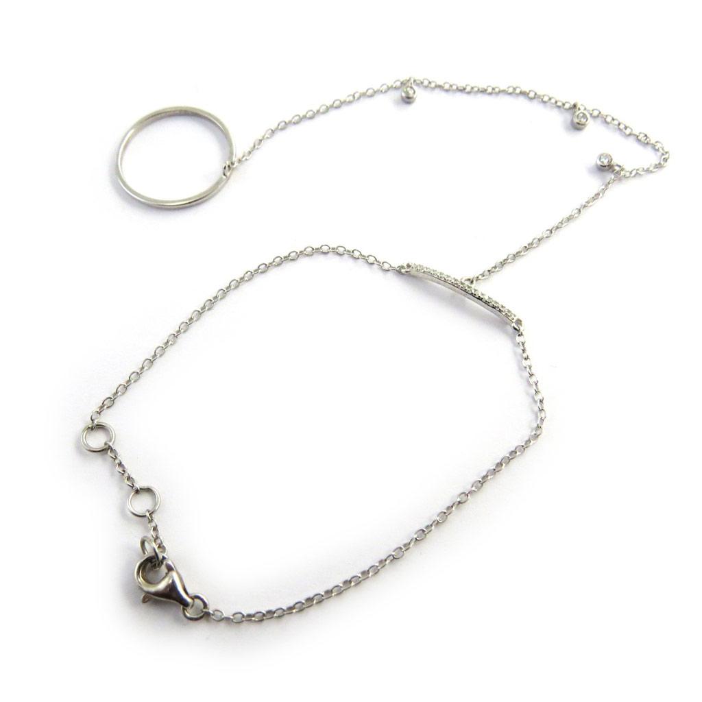 Bracelet bague argent \'Déesse\' blanc  - [M9581]