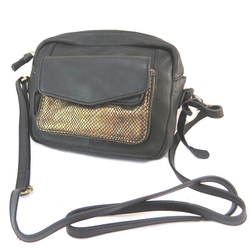 Sac besace cuir \'Anaik\' noir doré (résille) - 245x18x45 cm - [P3093]