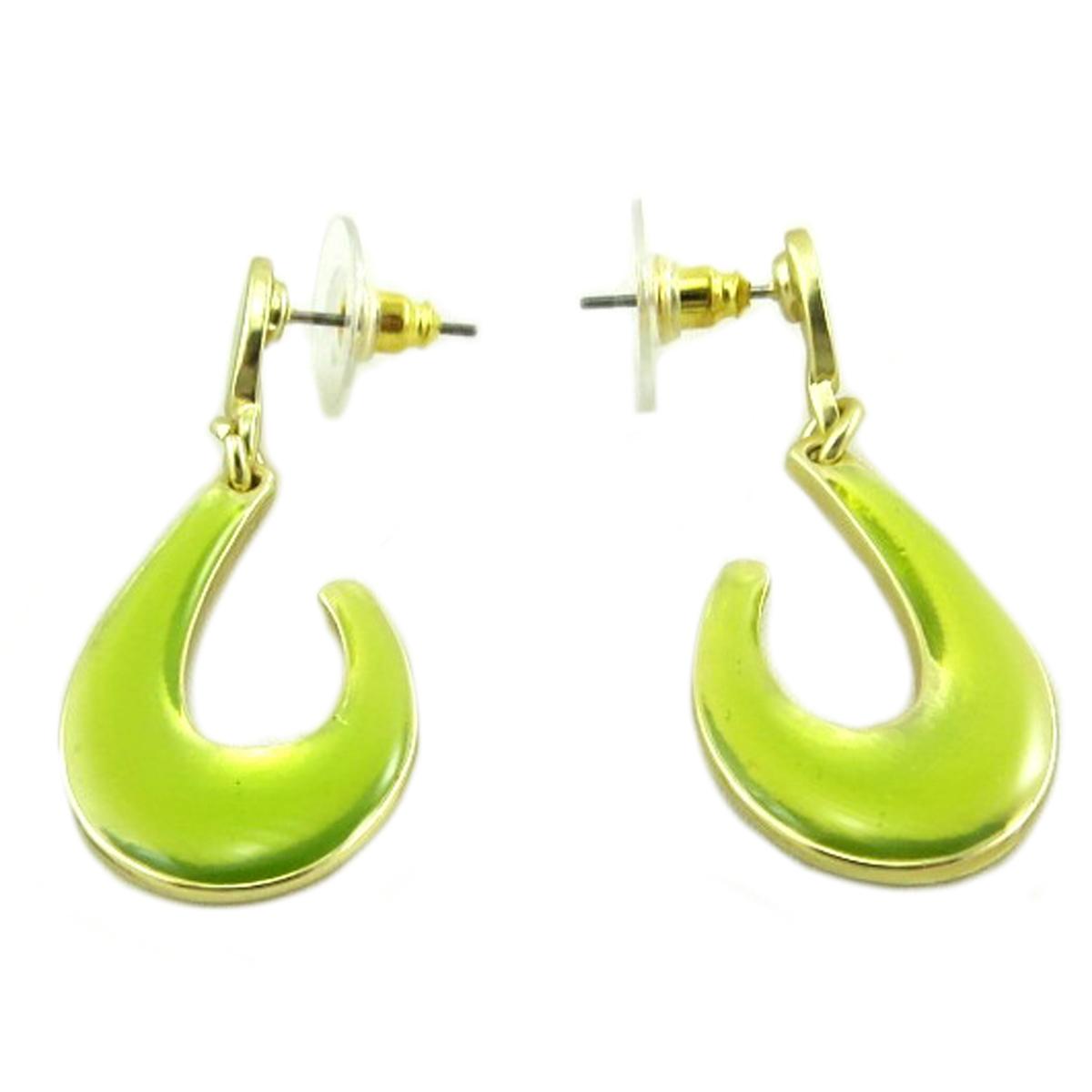 Boucles Créateur \'Nora\' vert doré - 40x17 mm - [P9597]