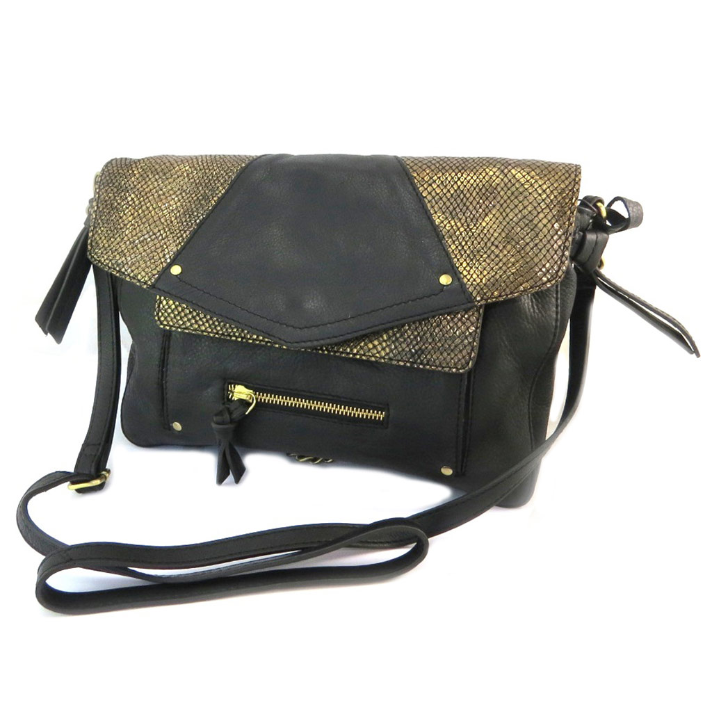Sac cuir \'Anaik\' noir doré (résille) - 32x21x6 cm - [P3096]
